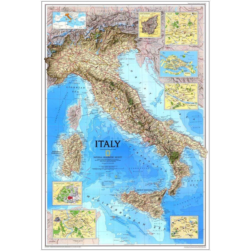 1995 italy map national geographic store
