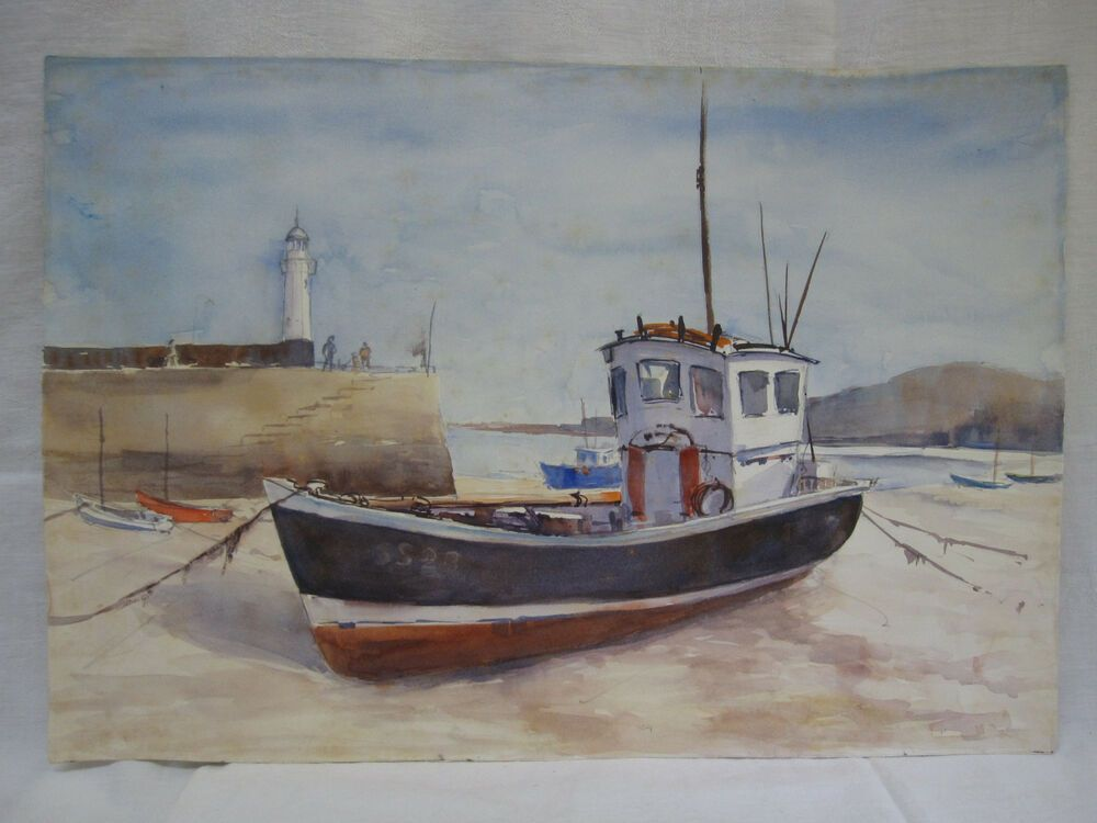 Vtg Fishing Trawler Boat Lighthouse Watercolor Painting