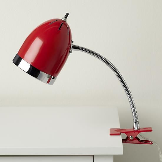 The Land Of Nod | Kids Lighting: Red Clip On Table Lamp In Desk Lamps