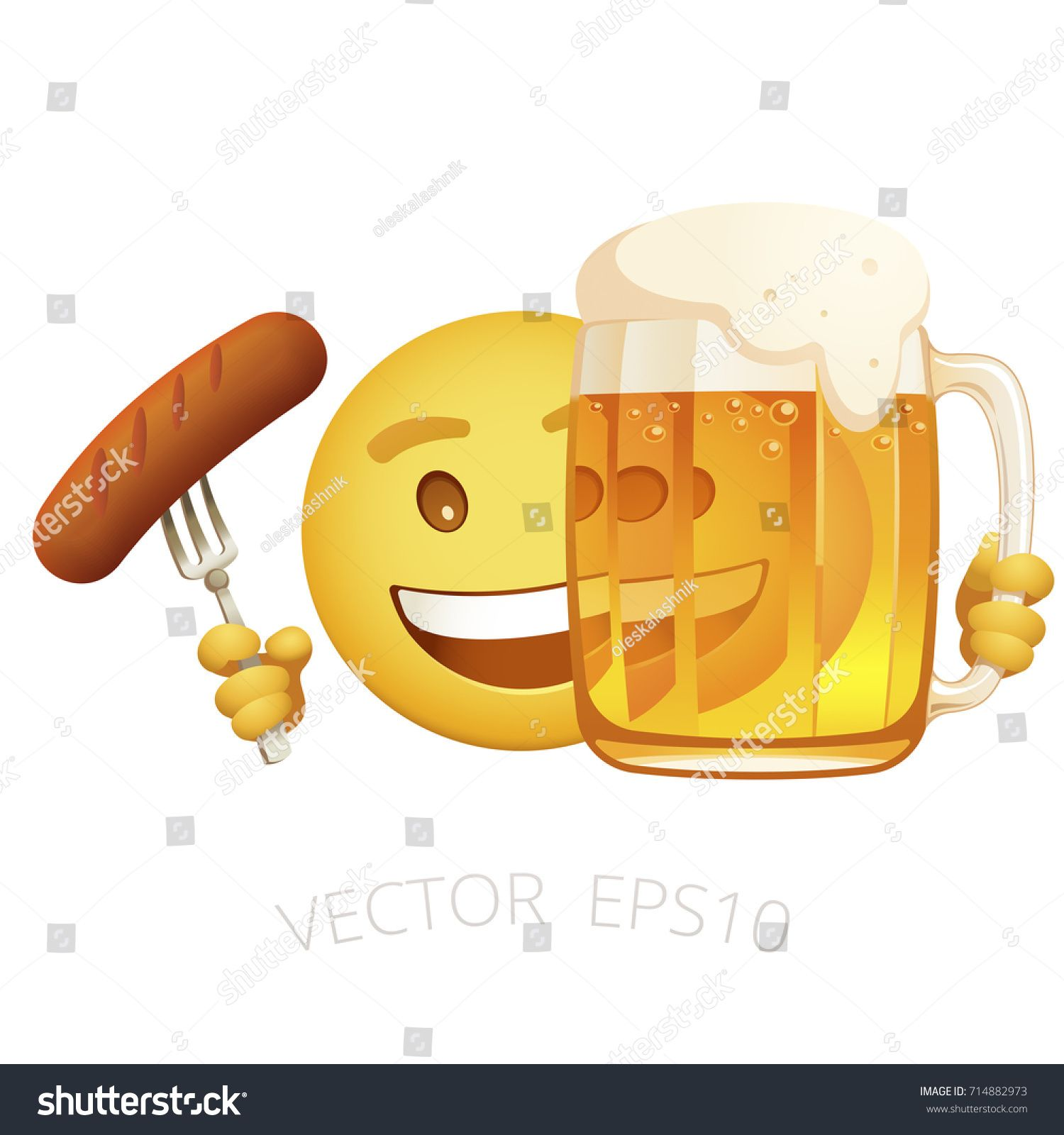 Vector Yellow Smiley Holds A Tasty Grilled Sausage On A Fork And Hides Behind The Mug Of Beer Cheerful Emoticon Look Out Fr Smiley Grilled Sausage Oktoberfest