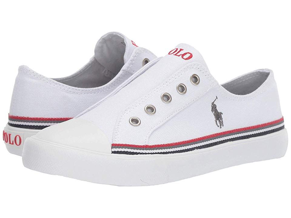ralph lauren red and white canvas shoes