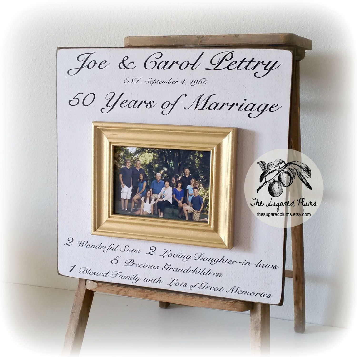 Family Name Sign, 50th Anniversary Gifts For Parents, 50th