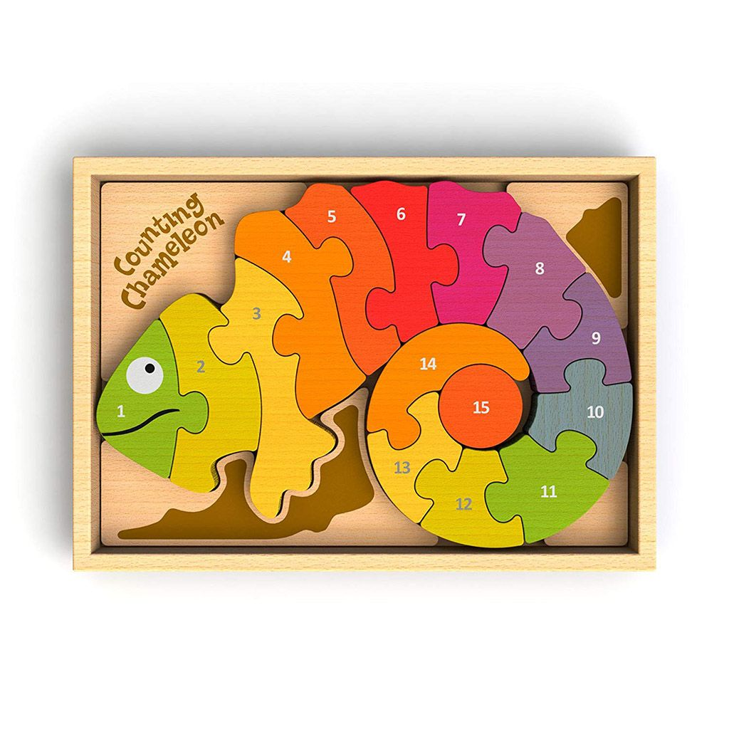 Begin Again Wooden Counting Chameleon Puzzle - Happy ...