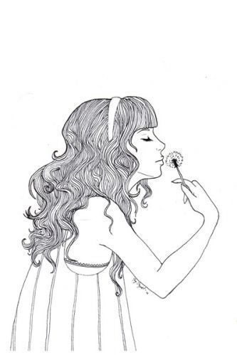 Dandelion Drawing Girl Hair Illustration Pretty Favim Com 44770
