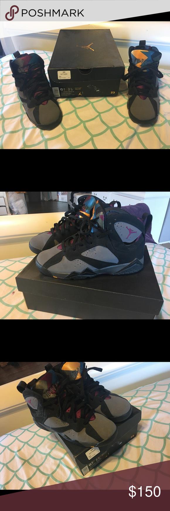 promo code f3795 6a938 Air Jordan 7 retro BG Color way  Black Brdx-Lt  Graphite-midnight Fg Noir   Borde-A-Mdntfg Jordan Shoes Sneakers