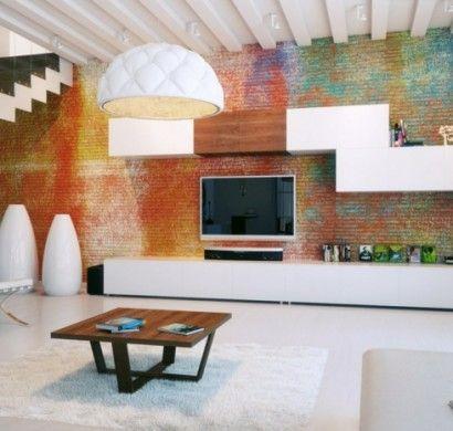 ideen-fur-wandgestaltung-wohnideen-wohnzimmer-farbige-ziegelwand