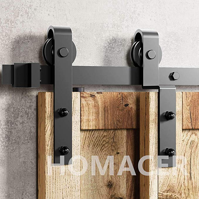 Amazon Com Homacer Sliding Barn Door Hardware Single Track Bypass Double Door Kit 10ft In 2020 Bypass Barn Door Sliding Barn Door Hardware Bypass Barn Door Hardware