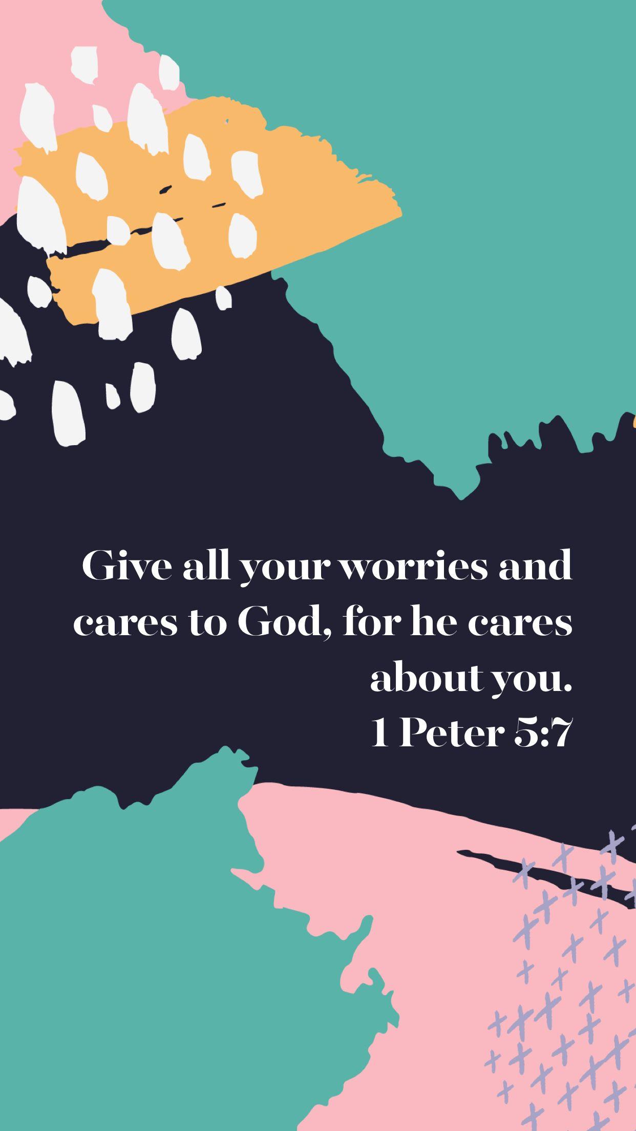 1 Peter 5:7 iPhone Wallpaper | good words | Bible quotes