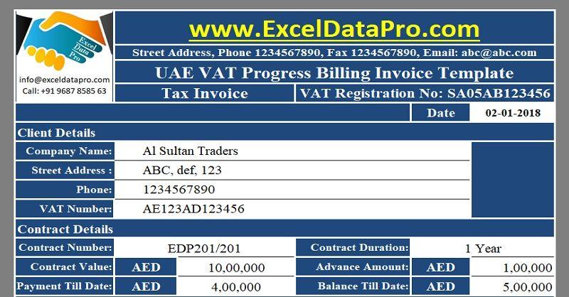 Download Uae Vat Progress Billing Invoice Excel Template Uae Vat