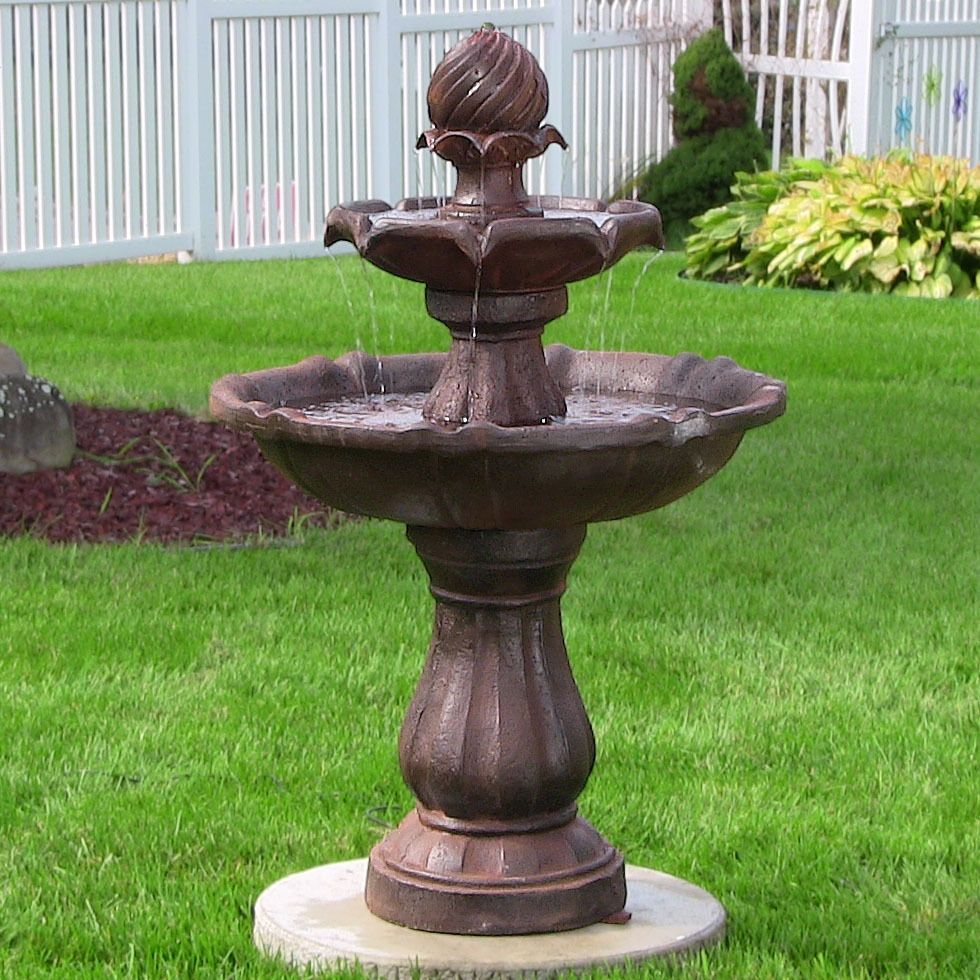 Sunnydaze Two Tier Solar On Demand Fountain, 35 Inch Tall (White) (Resin), Outdoor  Décor