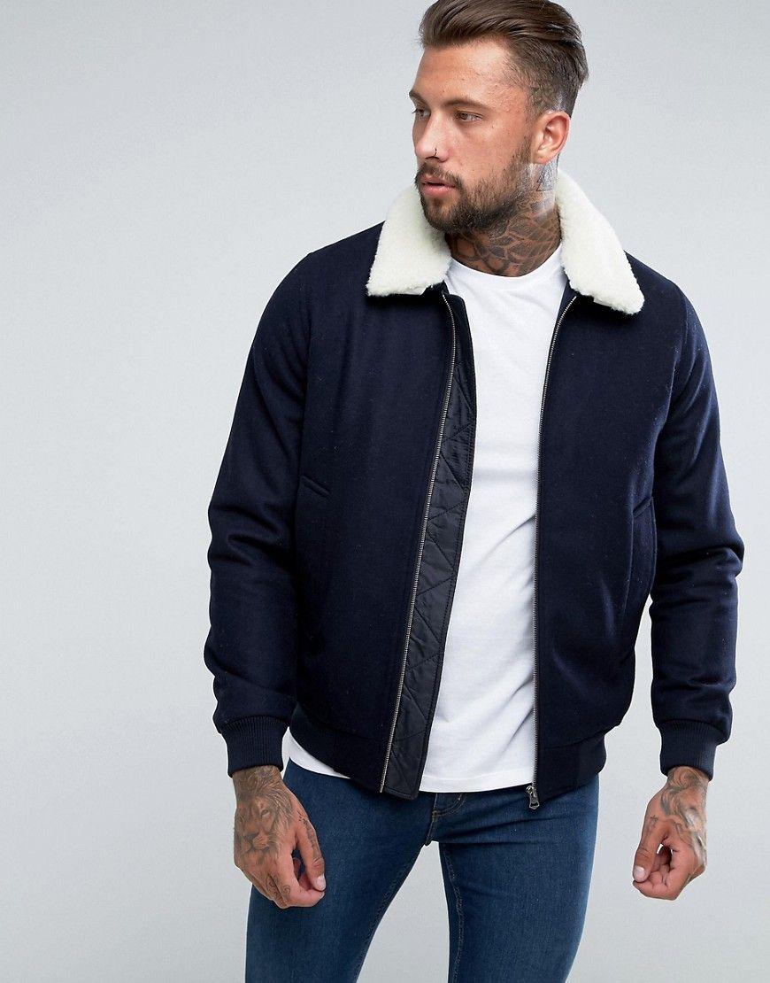 1f5481b0110 ASOS Wool Mix Harrington Jacket With Fleece Collar In Navy - Navy ...