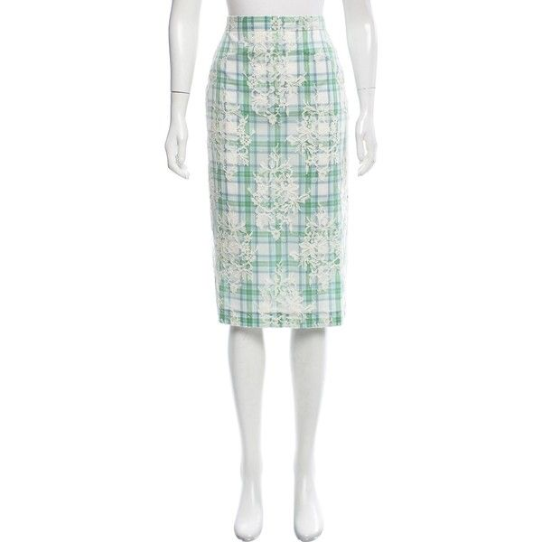 eb39752993 Pre-owned No. 21 Plaid Lace Skirt (900 DKK) ❤ liked on Polyvore featuring  skirts, green, patterned skirts, green skirt, lacy skirt, green lace skirt  and ...