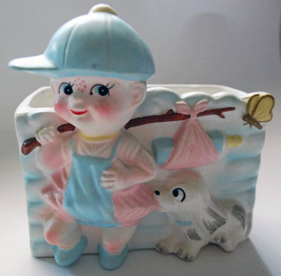Rubens Baby Boy Nursery Planter with bottle and dog Vase Japan With Sticker 50s 60s
