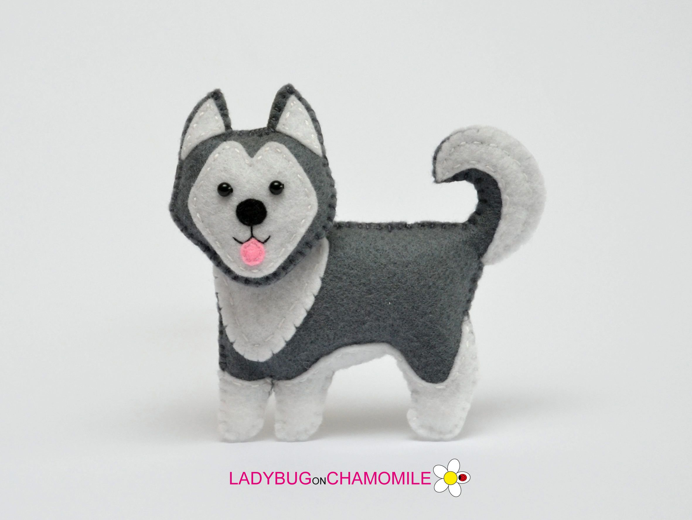 Felt HUSKY DOG, stuffed felt Husky dog magnet or ornament, Dog toy ...