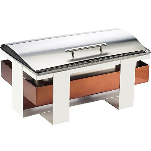 Cal Mil 3017 51 Luxe Full Size Stainless Steel And Copper Roll Top Chafer Glass Dome Cover Copper Roll Cal Mil