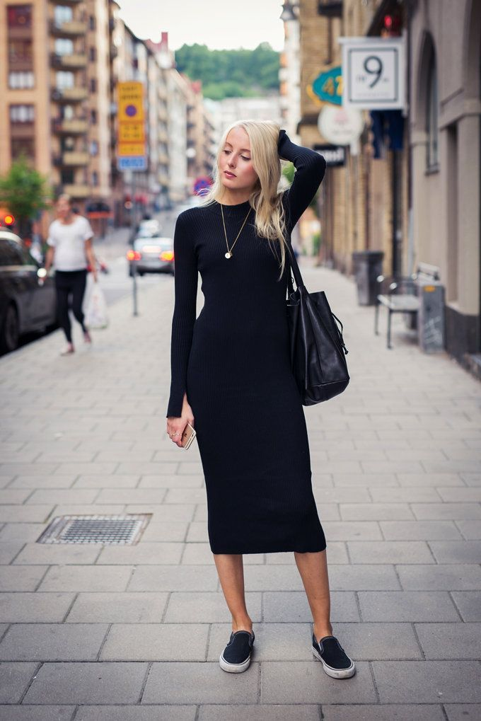 There are 2 tips to buy this dress: black midi black midi bodycon slip on  shoes black shoes flats bag black bag necklace long sleeve long sleeves all  black ...