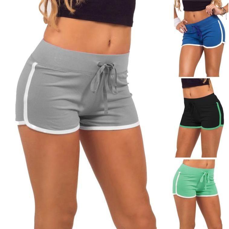 Women vintage Sports Gym Workout fashion Elegant Slim Fit Waistband Shorts Pants