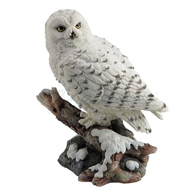 """White Snowy Owl Figurine Statue With Wings Spread 13/"""" High Detailed Resin New!"""