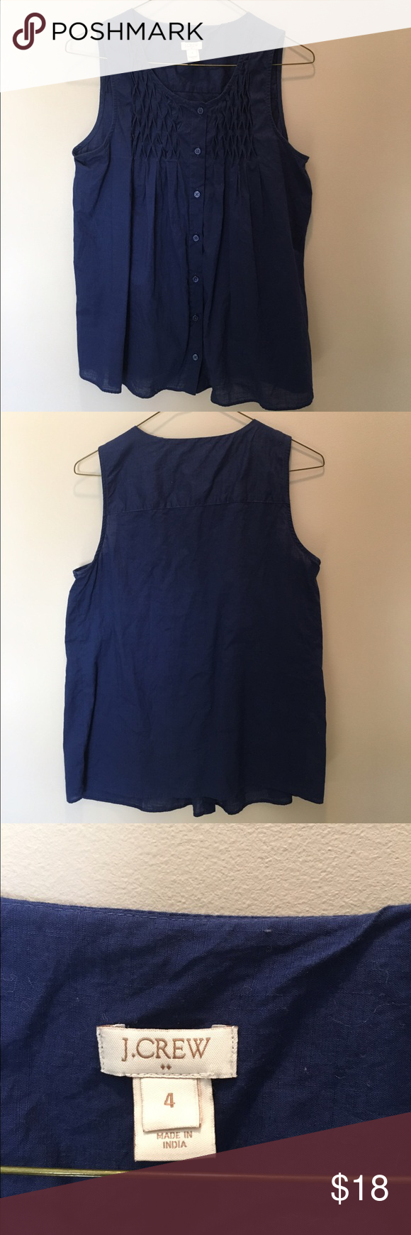Navy Blue, Sleeveless, JCrew top Navy blue, light wear J.Crew Factory Tops Blouses