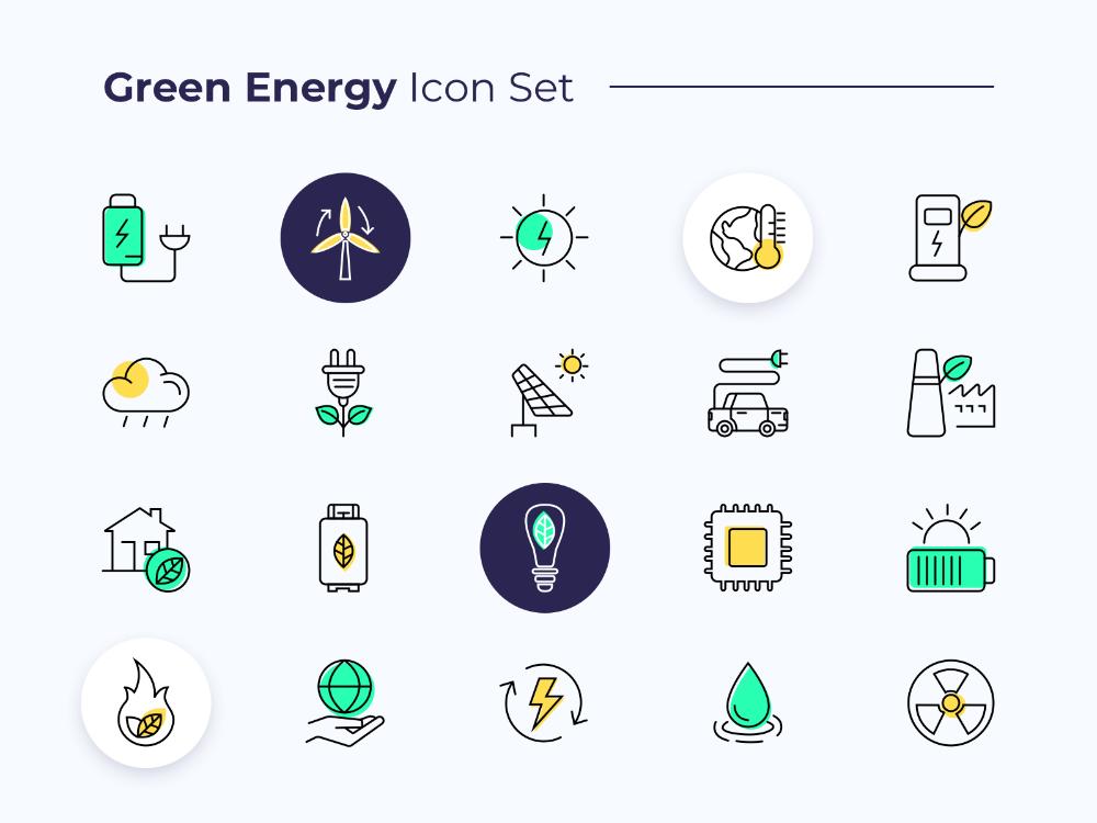 Green Energy Icon Set Design Jpg Icon Set Green Energy Icon Set Design