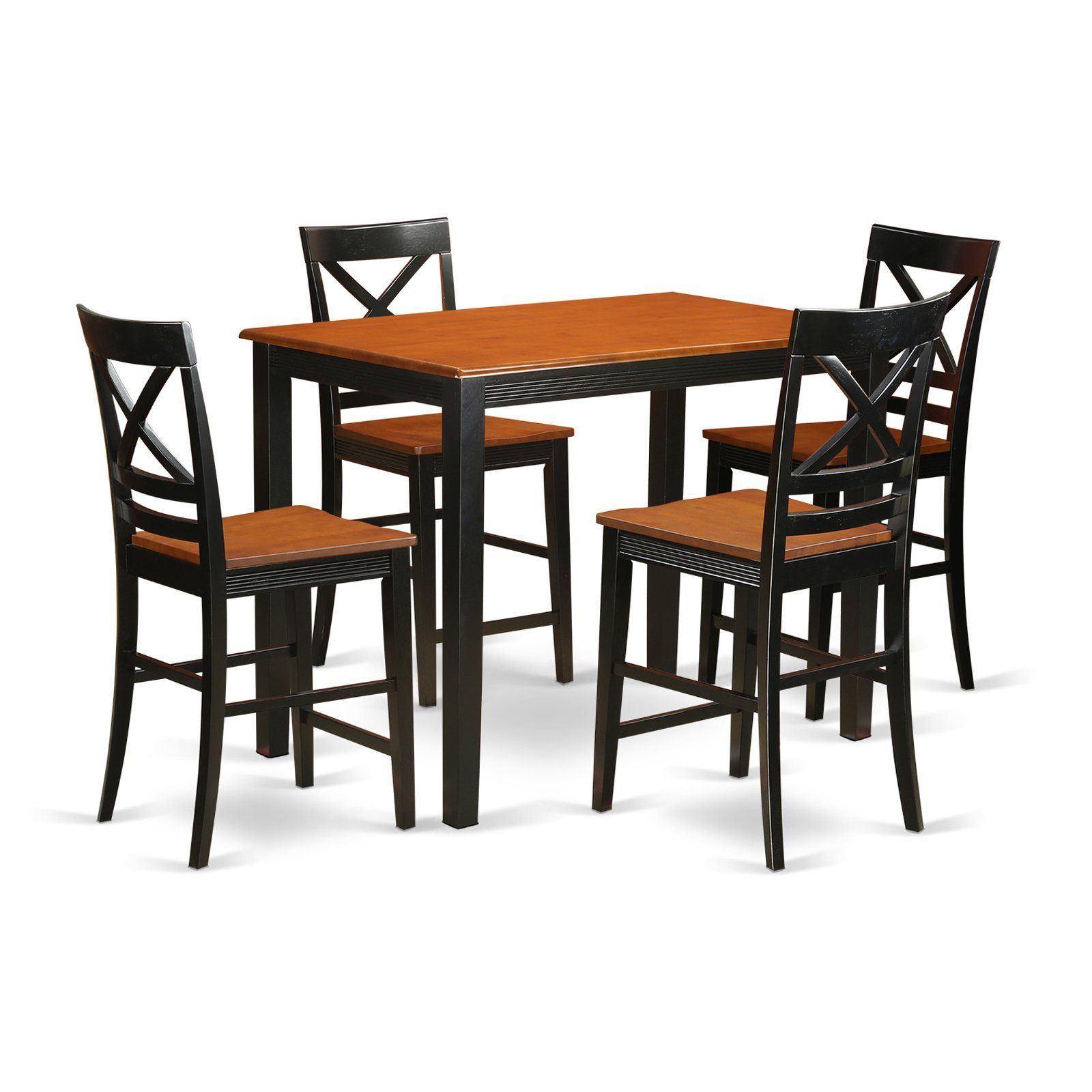 East West Furniture Yarmouth 5 Piece Cross And Ladder Dining Table