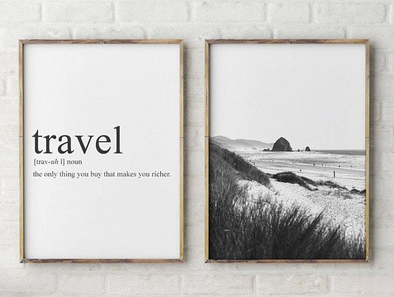 Travel Quote Cannon Beach Print set of 2, Black and White beach photos, surf home decor