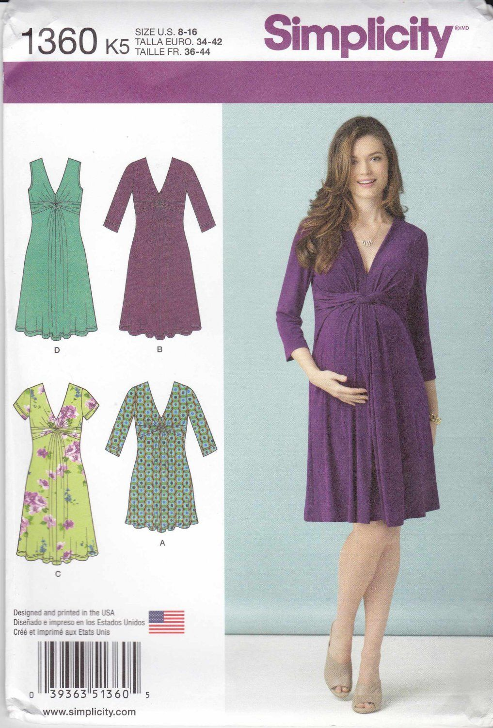 Simplicity+Sewing+Pattern+1360+Maternity+Misses+Size+16-24+Pullover+ ...