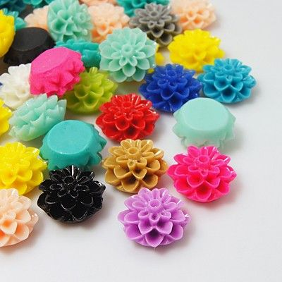 Resin Cabochons, Flower, Mixed Color