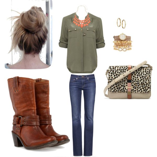 """""""Olive & Coral"""" by hegill25 on Polyvore"""