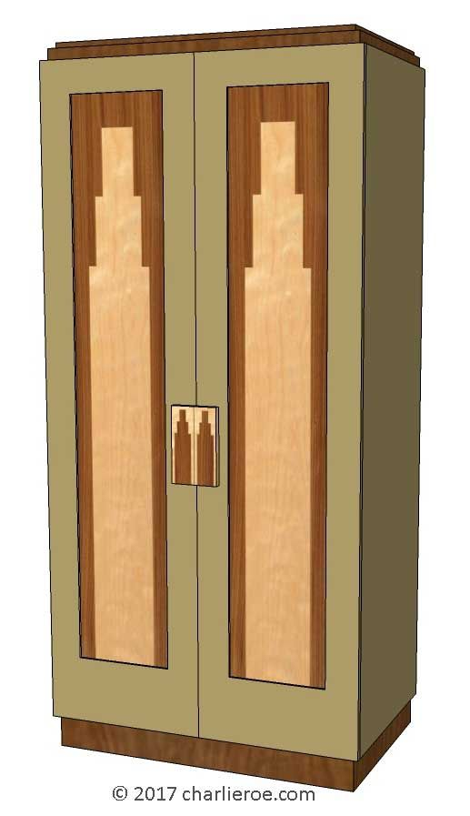 Tds The Design Service New Art Deco 2 Door Wardrobe With Skyscraper Style Stepped Marquetry Veneer Door Pane Art Deco Art Deco Door Art Deco Style Interior