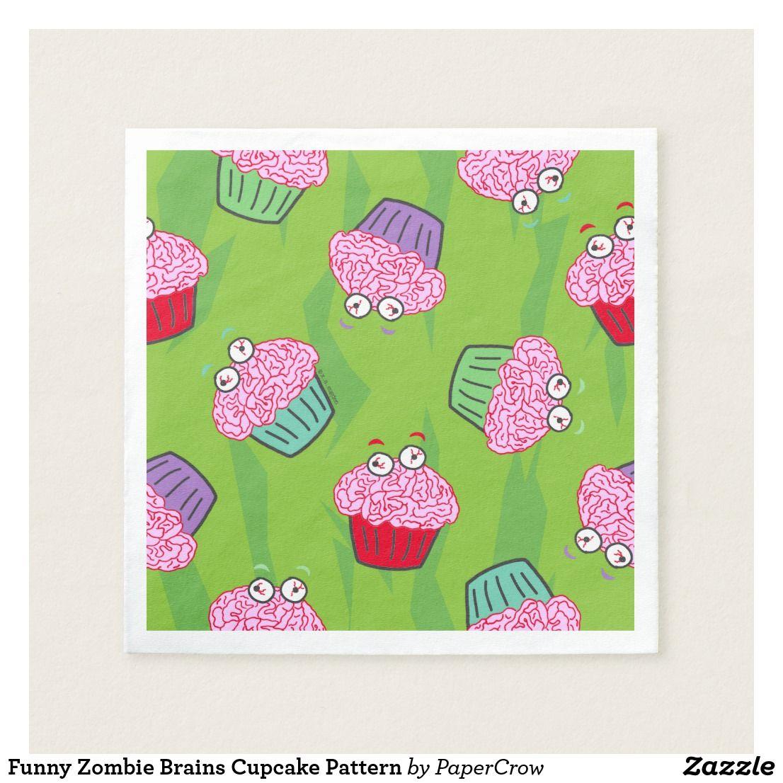 Funny Zombie Brains Cupcake Pattern Napkin