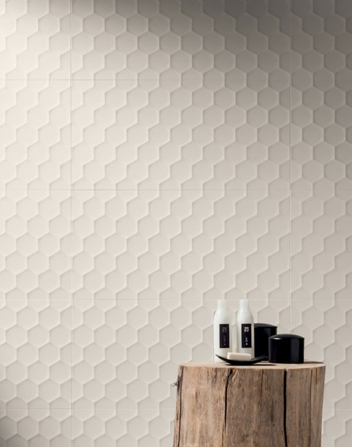 4D - White Hexagon ceramic tiles available at World Mosaic Tile in ...