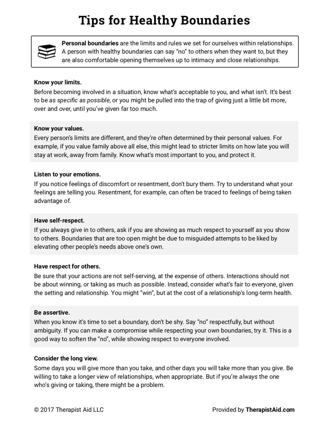 Healthy Boundaries Tips Worksheet Self Help Therapy