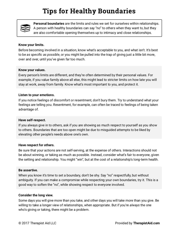 Healthy Boundaries Tips Worksheet Self Help Therapy