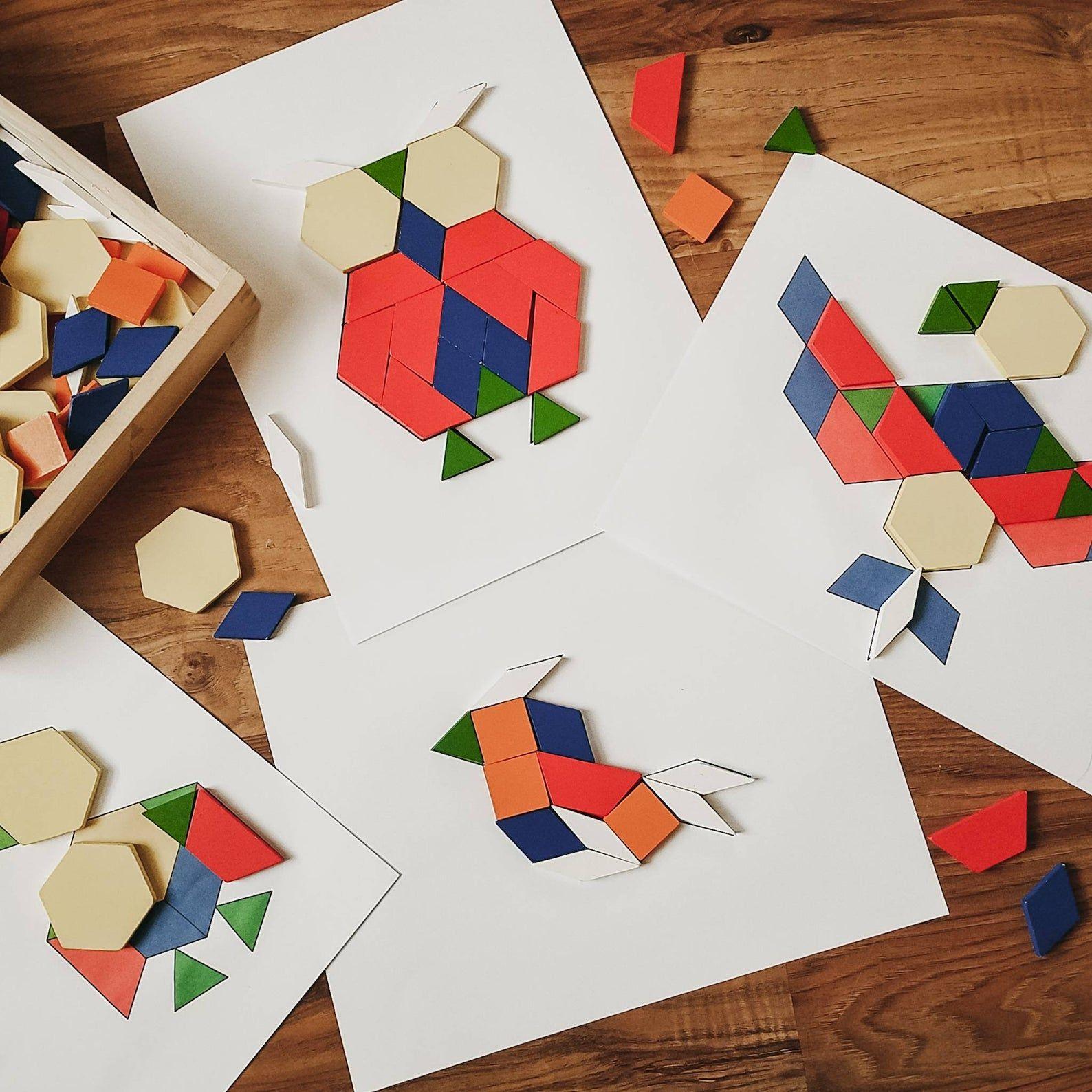 Bird Block Pattern Tangram Puzzles Printable Digital