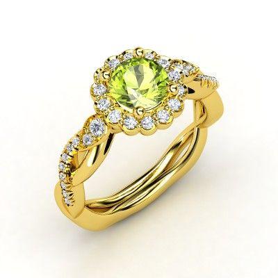 Round Peridot 18K Yellow Gold Ring with Diamond - Lucinda Ring | Gemvara
