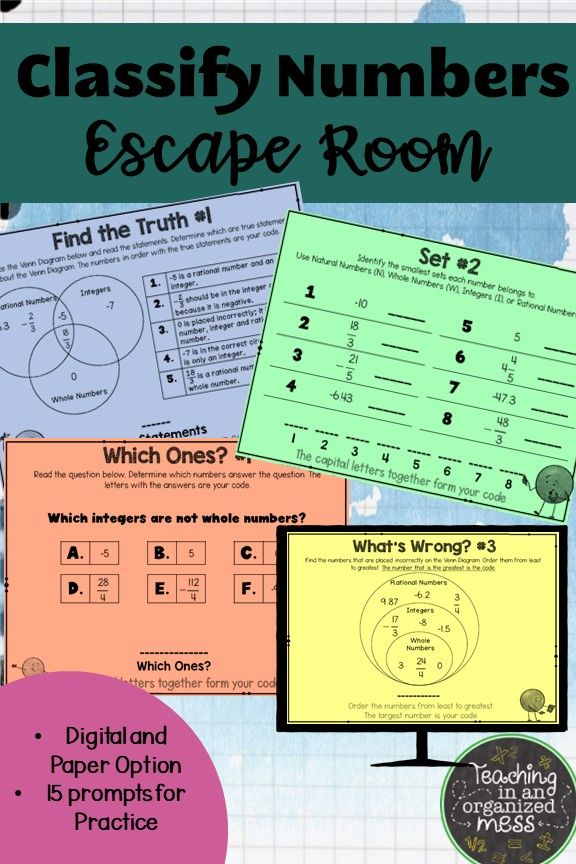 Classify Rational Numbers Escape Room--Digital & Paper ...