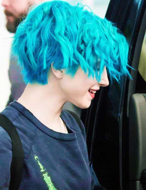Light Blue Pixie In 2019 Curly Hair Styles Blue Hair