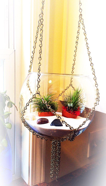 Macrame, chain, hanging vase, hanging terrarium, air plant terrarium ...