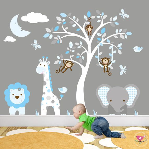 Safari Decal, Blue And Grey Nursery, Jungle Boys Wall Stickers. Swinging  Monkeys, Giraffe, Elephant, Lion, Sleeping Moon U0026 White Tree Mural