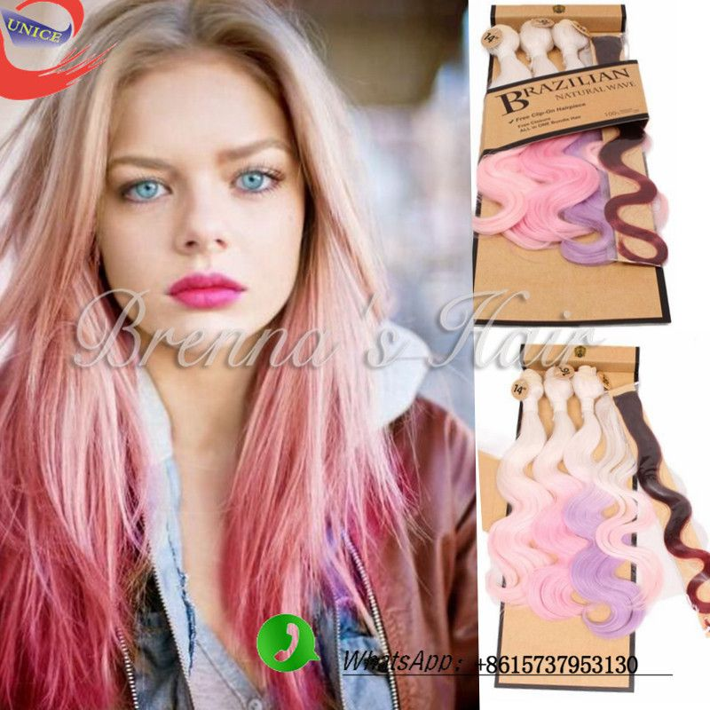 Brazilian Pink Weave Hair Body Wave Rose Gold Ombre Hair Extension 4