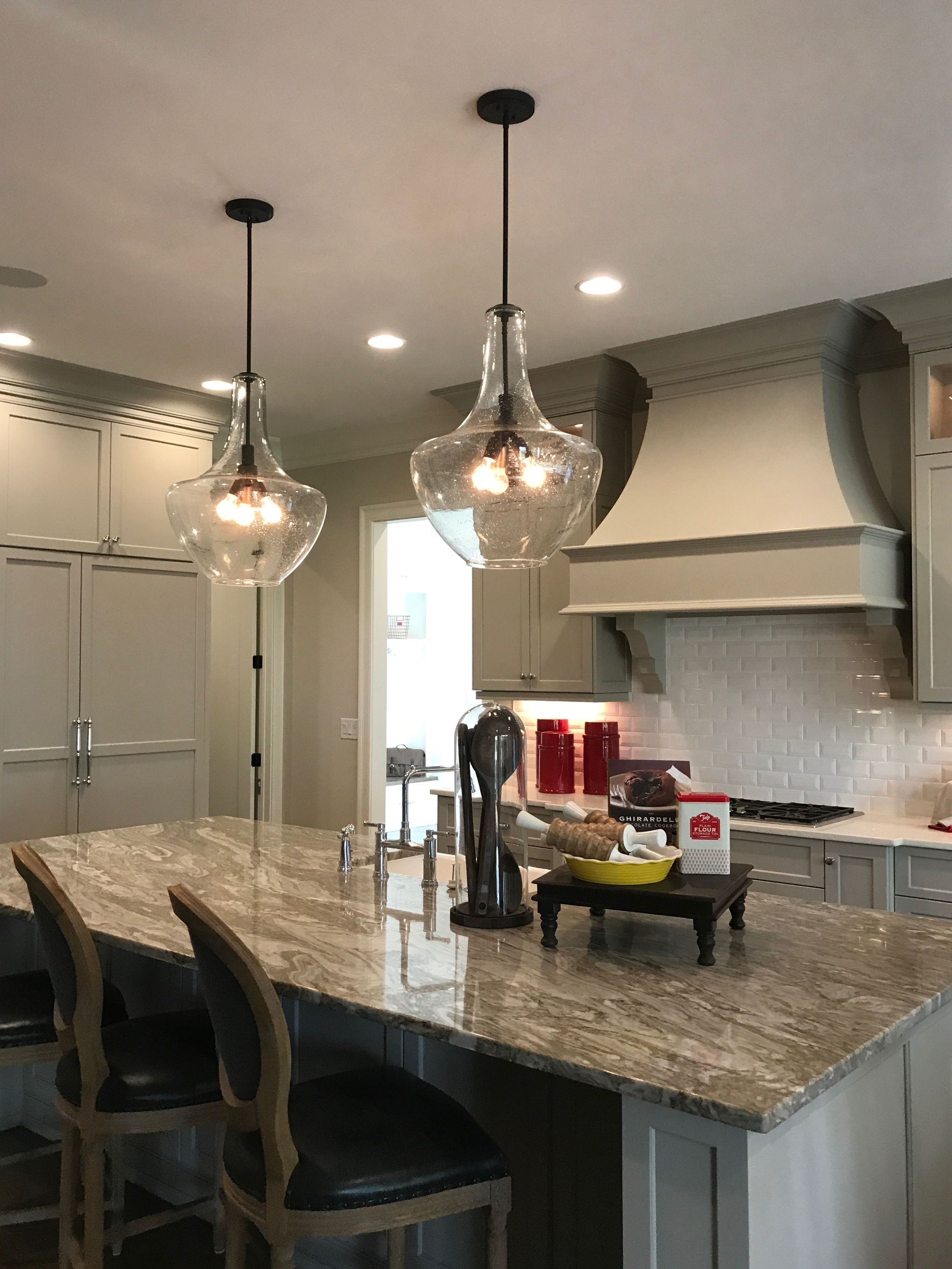 Two Large Kichler Everly Pendants Above Kitchen Island In