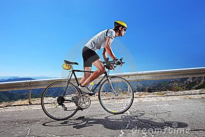 Cyclist Riding Uphill Triathlon Training Bicycle Bike Ride