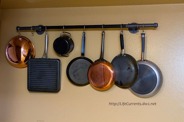 Diy Pot Rack With Pipes From Home Depot Organization
