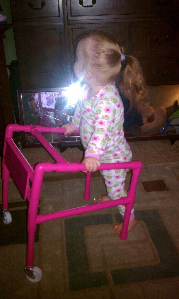 She is so fast...PVC pipe makes a light walker.