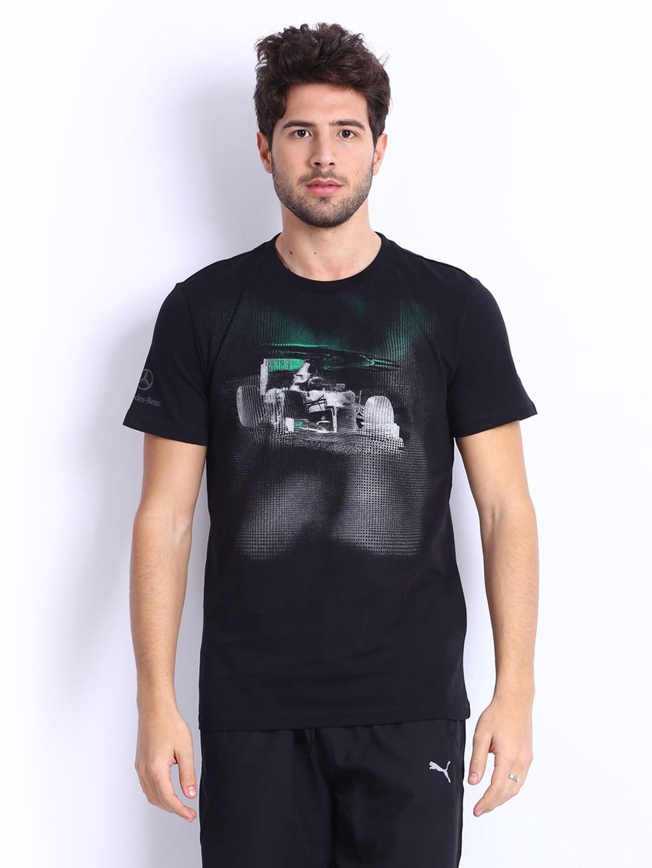 puma men black printed mercedes benz amg petronas t shirt. Black Bedroom Furniture Sets. Home Design Ideas