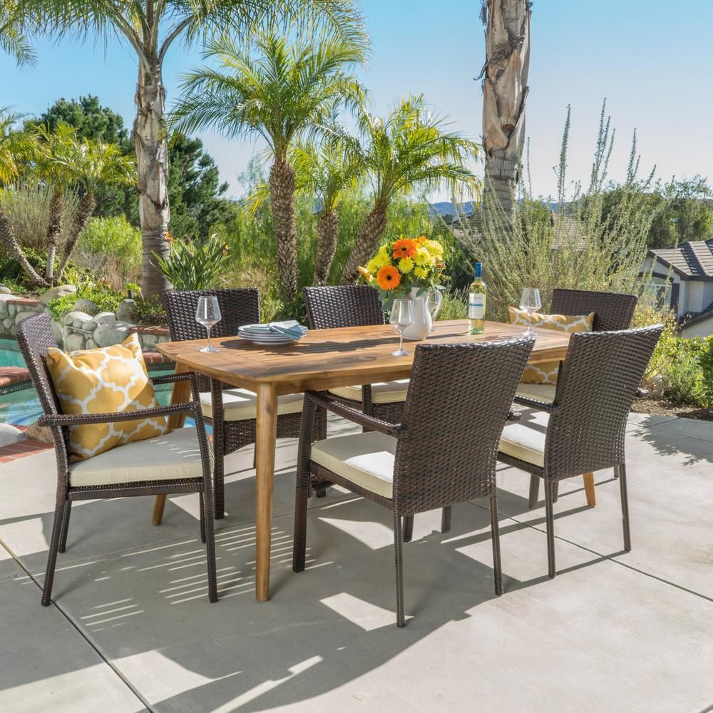 Noble House Emmalynn 7 Piece Wood And Wicker Outdoor Dining Set With