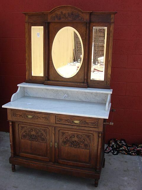 French Antique Marble Top Washstand Dresser Commode Antique Bedroom Furniture Antique