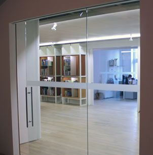 Etched glass bands on doors and glas office walls for In wall sliding glass doors