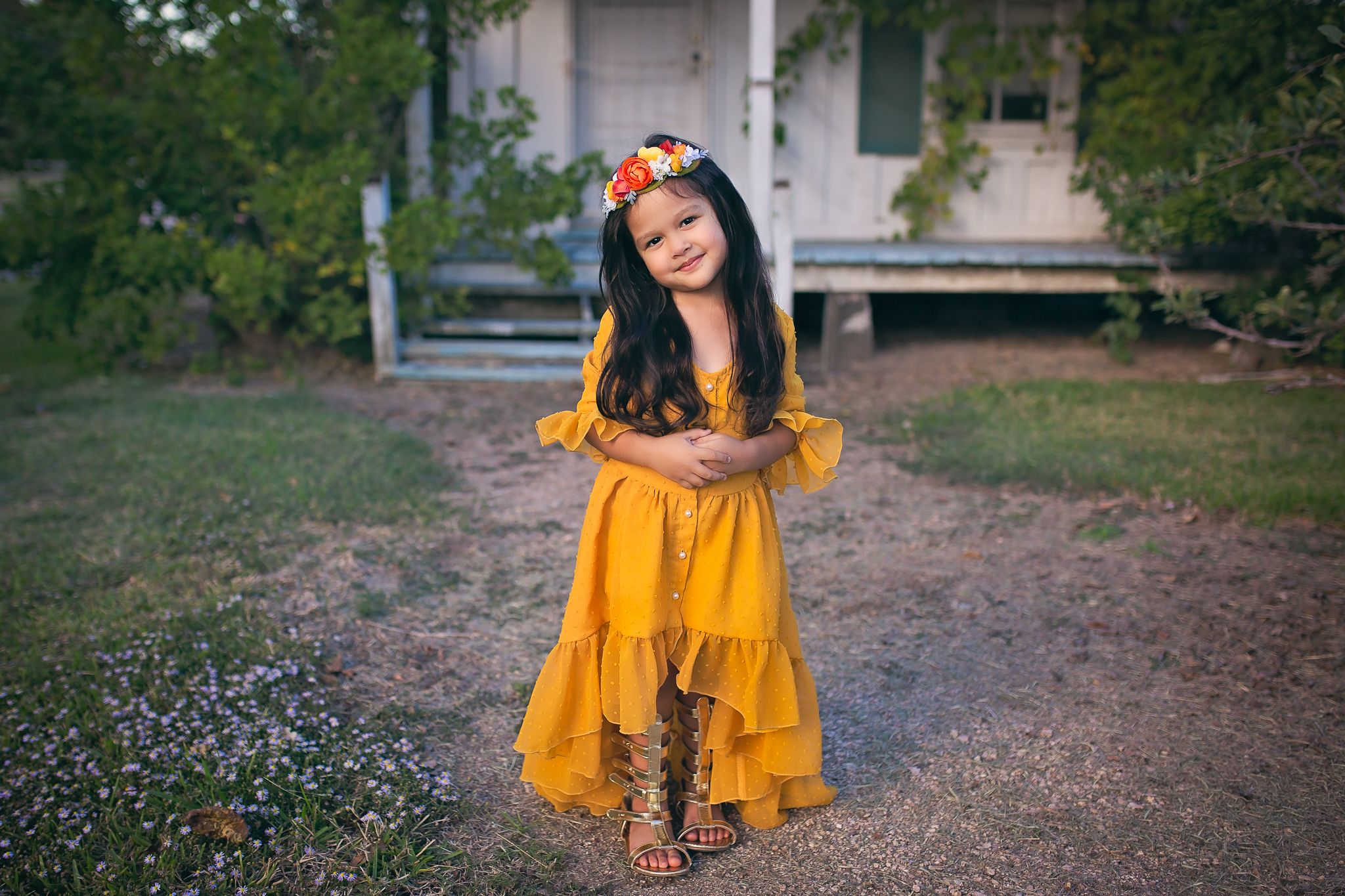 b8af2ae5a3a4 Mustard yellow high low flower girl dress by Belle & Kai. | Mustard ...